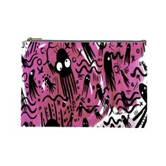 Octopus Colorful Cartoon Octopuses Pattern Black Pink Cosmetic Bag (large)  by Mariart