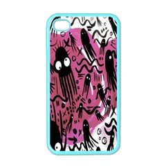 Octopus Colorful Cartoon Octopuses Pattern Black Pink Apple Iphone 4 Case (color) by Mariart