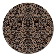 Damask2 Black Marble & Brown Colored Pencil (r) Magnet 5  (round) by trendistuff