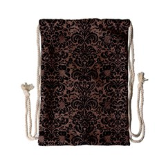 Damask2 Black Marble & Brown Colored Pencil (r) Drawstring Bag (small) by trendistuff