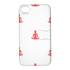 Seamless Pattern Man Meditating Yoga Orange Red Silhouette White Apple Iphone 4/4s Hardshell Case With Stand by Mariart
