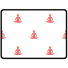 Seamless Pattern Man Meditating Yoga Orange Red Silhouette White Double Sided Fleece Blanket (large)  by Mariart