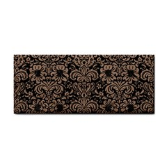 Damask2 Black Marble & Brown Colored Pencil Hand Towel by trendistuff