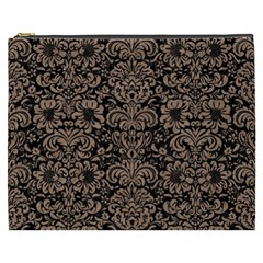 Damask2 Black Marble & Brown Colored Pencil Cosmetic Bag (xxxl) by trendistuff