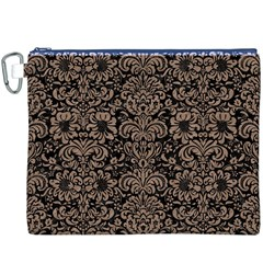 Damask2 Black Marble & Brown Colored Pencil Canvas Cosmetic Bag (xxxl) by trendistuff