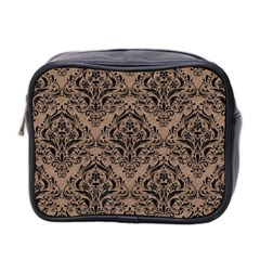 Damask1 Black Marble & Brown Colored Pencil (r) Mini Toiletries Bag (two Sides) by trendistuff