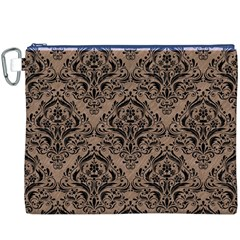 Damask1 Black Marble & Brown Colored Pencil (r) Canvas Cosmetic Bag (xxxl) by trendistuff