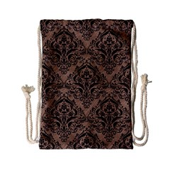 Damask1 Black Marble & Brown Colored Pencil (r) Drawstring Bag (small) by trendistuff