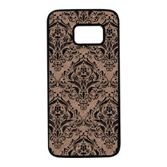 Damask1 Black Marble & Brown Colored Pencil (r) Samsung Galaxy S7 Black Seamless Case by trendistuff