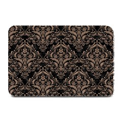 Damask1 Black Marble & Brown Colored Pencil Plate Mat by trendistuff