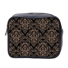 Damask1 Black Marble & Brown Colored Pencil Mini Toiletries Bag (two Sides) by trendistuff