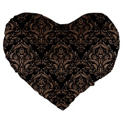 Damask1 Black Marble & Brown Colored Pencil Large 19  Premium Flano Heart Shape Cushion by trendistuff