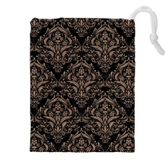 Damask1 Black Marble & Brown Colored Pencil Drawstring Pouch (xxl) by trendistuff