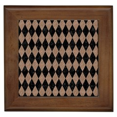 Diamond1 Black Marble & Brown Colored Pencil Framed Tile by trendistuff