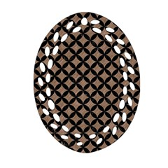 Circles3 Black Marble & Brown Colored Pencil (r) Oval Filigree Ornament (two Sides) by trendistuff