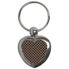 Circles3 Black Marble & Brown Colored Pencil Key Chain (heart) by trendistuff
