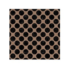 Circles2 Black Marble & Brown Colored Pencil (r) Small Satin Scarf (square) by trendistuff