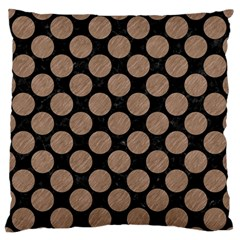 Circles2 Black Marble & Brown Colored Pencil Large Flano Cushion Case (two Sides) by trendistuff
