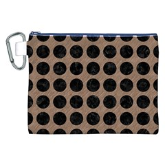 Circles1 Black Marble & Brown Colored Pencil (r) Canvas Cosmetic Bag (xxl) by trendistuff