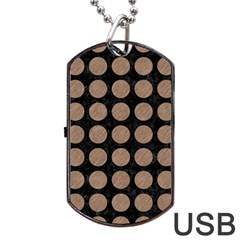 Circles1 Black Marble & Brown Colored Pencil Dog Tag Usb Flash (two Sides) by trendistuff
