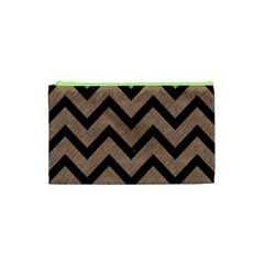 Chevron9 Black Marble & Brown Colored Pencil (r) Cosmetic Bag (xs) by trendistuff