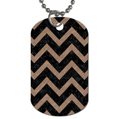 Chevron9 Black Marble & Brown Colored Pencil Dog Tag (one Side) by trendistuff