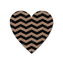 Chevron3 Black Marble & Brown Colored Pencil Magnet (heart) by trendistuff