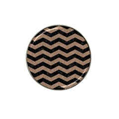 Chevron3 Black Marble & Brown Colored Pencil Hat Clip Ball Marker by trendistuff