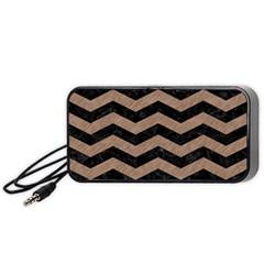 Chevron3 Black Marble & Brown Colored Pencil Portable Speaker (black) by trendistuff