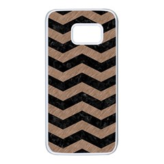 Chevron3 Black Marble & Brown Colored Pencil Samsung Galaxy S7 White Seamless Case by trendistuff