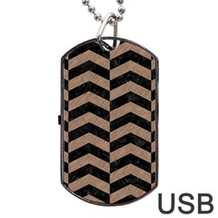 Chevron2 Black Marble & Brown Colored Pencil Dog Tag Usb Flash (two Sides) by trendistuff