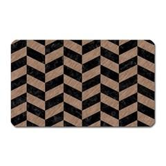 Chevron1 Black Marble & Brown Colored Pencil Magnet (rectangular) by trendistuff