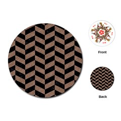 Chevron1 Black Marble & Brown Colored Pencil Playing Cards (round) by trendistuff