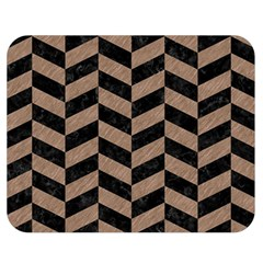 Chevron1 Black Marble & Brown Colored Pencil Double Sided Flano Blanket (medium) by trendistuff