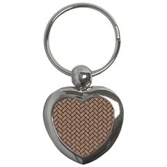 Brick2 Black Marble & Brown Colored Pencil (r) Key Chain (heart) by trendistuff