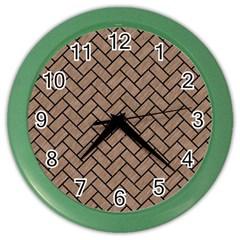 Brick2 Black Marble & Brown Colored Pencil (r) Color Wall Clock by trendistuff