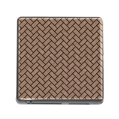 Brick2 Black Marble & Brown Colored Pencil (r) Memory Card Reader (square) by trendistuff