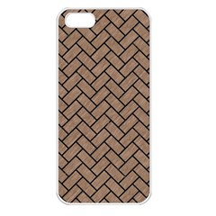 Brick2 Black Marble & Brown Colored Pencil (r) Apple Iphone 5 Seamless Case (white) by trendistuff