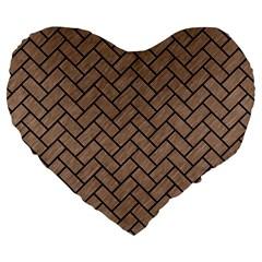 Brick2 Black Marble & Brown Colored Pencil (r) Large 19  Premium Heart Shape Cushion by trendistuff