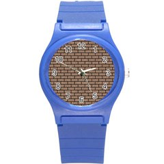 Brick1 Black Marble & Brown Colored Pencil (r) Round Plastic Sport Watch (s) by trendistuff