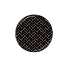 Brick2 Black Marble & Brown Colored Pencil Hat Clip Ball Marker by trendistuff