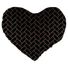 Brick2 Black Marble & Brown Colored Pencil Large 19  Premium Flano Heart Shape Cushion by trendistuff