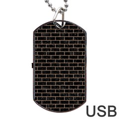 Brick1 Black Marble & Brown Colored Pencil Dog Tag Usb Flash (one Side) by trendistuff