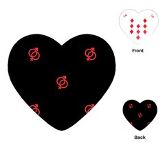 Seamless Pattern With Symbol Sex Men Women Black Background Glowing Red Black Sign Playing Cards (heart)  by Mariart