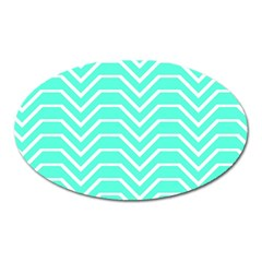 Seamless Pattern Of Curved Lines Create The Effect Of Depth The Optical Illusion Of White Wave Oval Magnet by Mariart