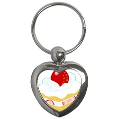 Seeds Strawberry Bread Fruite Red Key Chains (heart)  by Mariart