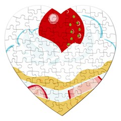 Seeds Strawberry Bread Fruite Red Jigsaw Puzzle (heart) by Mariart