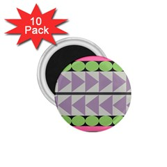 Shapes Patchwork Circle Triangle 1 75  Magnets (10 Pack)  by Mariart