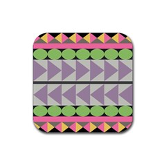 Shapes Patchwork Circle Triangle Rubber Square Coaster (4 Pack)  by Mariart