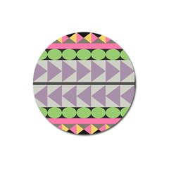 Shapes Patchwork Circle Triangle Magnet 3  (round) by Mariart